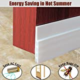 MAZU Door Bottom Seal Strip Energy & Money Saving in Hot Summer Save Air Conditioner Cost Keep Bugs&Noise Off Under Door Sweep Weather Stripping Door Draft Stopper 2' x 39' (White)
