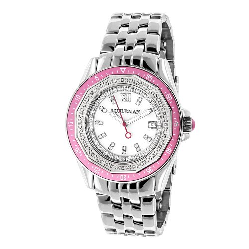 LUXURMAN Womens Diamond Pink Watch 0.25ct