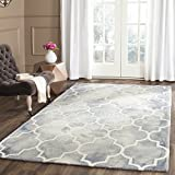 Safavieh Dip Dye Collection DDY535C Handmade Moroccan Watercolor Grey and Ivory Wool Area Rug (6′ x 9′)