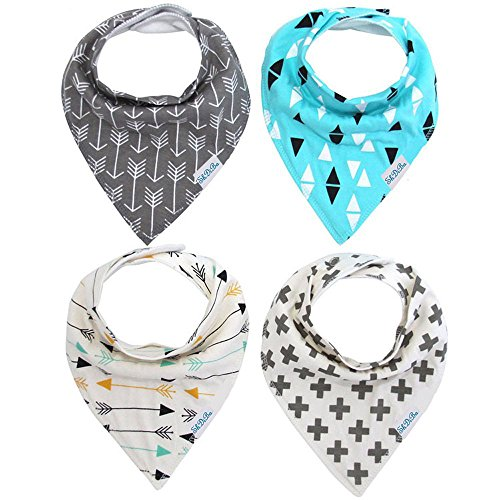 [SHDiBa Baby Bandana Drool Bibs with Super Absorbent Organic Cotton,Unisex 4 Pack Drooling and Teething Bibs (Gift Bag] (Baby Designer Clothes)