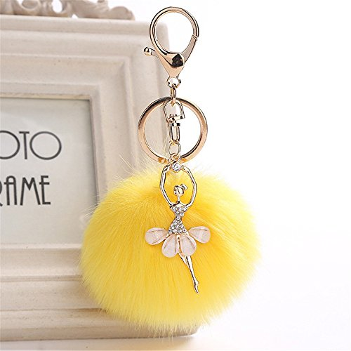 8CM Cute Dancing Angel Keychain Pendant Women Key Ring Holder Pompoms Key Chains,Outsta 2019 Fashion Jewelry Hot Sale!Under 5 Dollars Gifts for Her