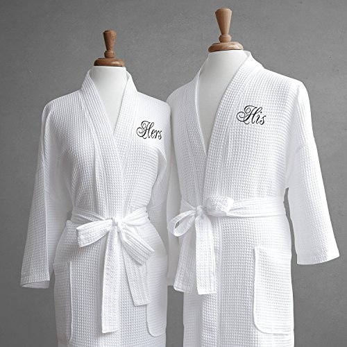 Luxor Linens Egyptian Cotton His & Hers Waffle Robes - Perfect Engagement Gifts! - His & Hers with Gift - For Eye Frames Best Face My