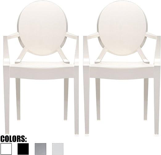Juego de 2 sillones modernos de ghost con brazo de policarbonato de plástico transparente: Amazon.es: Juguetes y juegos