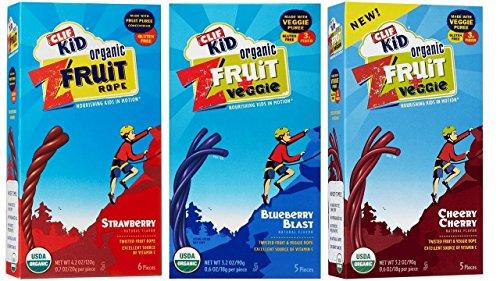 Clif Kid Organic ZFruit & Veggie/Fruit Rope 3 Flavor Variety Bundle, 1 each: Strawberry, Cheery Cherry, Blueberry Blast, 3.2-4.23 Ounces