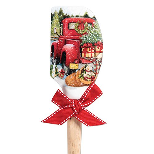 Brownlow Gifts 66138 Christmas Silicone Spatula, 12.5 Inches, Red - Truck Holiday