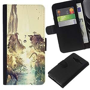 LECELL--Cuero de la tarjeta la carpeta del tirón Smartphone Slots Protección Holder For Samsung Galaxy Core Prime -- Dinosaurio surrealista Venado Tierra --