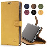 Samsung Galaxy S10 Plus Case, Luxury Genuine Leather Wallet with Viewing Stand and Card Slots, Flip Cover Gift Boxed and Handmade in Europe for Samsung Galaxy S10 Plus - (Honeygold)