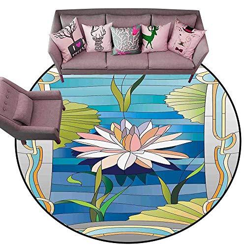 - Outdoor Kitchen Room Floor Mat Art Nouveau,Lotus on The Water Baroque Avant Garde Stylized Classic Architecture Pattern,Multicolor Diameter 54