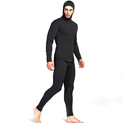 f1275e451e EDTara Full Wetsuit Two Piece Set of Long Johns and Jacket with Hood 3mm  Waterproof Neoprene Diving Suits for Diving Snorkeling Swimming  Spearfishing Black ...