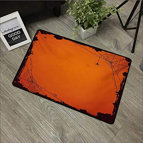 Anzhutwelve Spider Web,Custom Door mats Grunge Halloween Composition Scary Framework with Insects Abstract Cobweb W 31