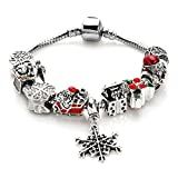 YYcharm Christmas Gift Snowflake Charm Bracelet for Women DIY Crystal Beads Bangle Jewelry Gifts