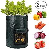 ANPHSIN 10 Gallon Potato Grow Bags with Flap and Handles - Aeration Tomato Fabric Plant Pots - Garden Bag Planter Pots - Vegetable Growing Bags Outdoor (2 pcs)