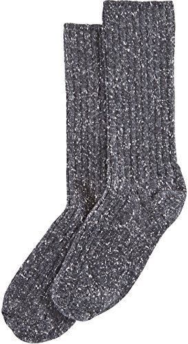 Hue Women's Tweed Ribbed Boot Sock With Color Twist, Black, Medium