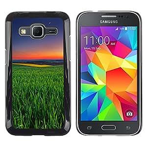 TopCaseStore / la caja del caucho duro de la cubierta de protección de la piel - Green Nature Summer Evening Sunset - Samsung Galaxy Core Prime SM-G360