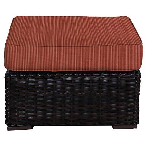 Envelor Santa Monica Outdoor Patio Furniture Durable Wicker Rattan Ottoman Stool Foot Rest Includes Papaya Dupione Sunbrella Cushions