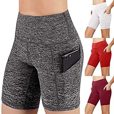 Yoga Shorts for Women High Waist, Tummy Control Workout Running Athletic Biker Shorts 4 Way Stesch Yoga Pants with Pockets at  Women's Clothing store