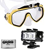 Opteka Goggles Scuba Diving Mask + Waterproof LED Flash Light for GoPro HERO4 - HERO3 - HERO2 Black - Silver - Session - SJ6000 - SJ4000 and Similar Action Cameras