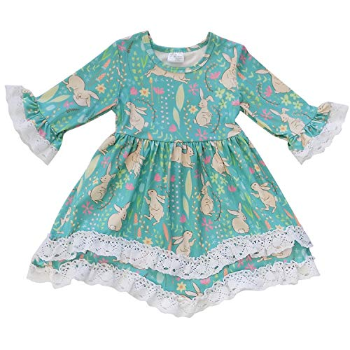 So Sydney Girls Toddler Baby Spring & Easter Romper, 2 Piece, or Boho Lace Ruffle Dress (18-24 Months (XXS), Bunny Hop Turquoise Boho Dress)