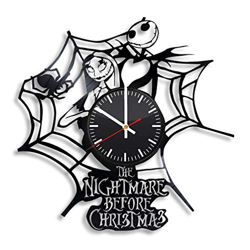 The Nightmare Before Christmas Vinyl Wall Clock, Halloween Town Art Handmade Gift Idea for Any Occasion, Original Home Room Kitchen Decor, Vintage Modern Style Theme -