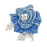 Rose Flower Brooch Pin with Rhinestone for Women Birdal Girl Prom Jewelry (Blue)