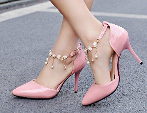 correa puntiagudo de Wedding de de patente tacón perla Party YE cuero de aguja pie tobillo del la Shoes con Bombas Rhinestone del de Pink la dedo de EwvqUn