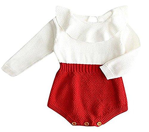 (HRIUYI Baby Girls Sweet Knitted Fleece Romper Long Sleeve Ruffles Jumpsuits Sweaters Dress(Red, 66/0-3)