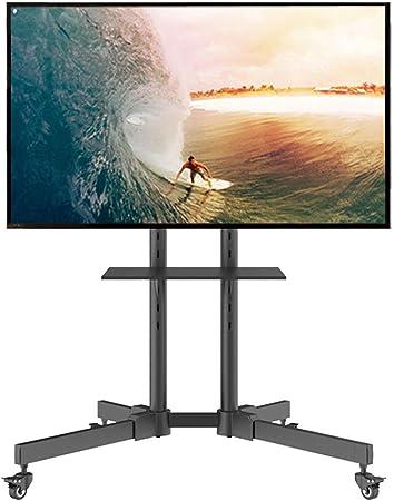 Jsmhh For TV de Soporte for LED LCD de 37 a 70 Pulgadas de Plasma de Pantalla Plana Panel de Carrito Suelo con Ruedas, TV Móvil Soporte de televisor Estante de exhibición: