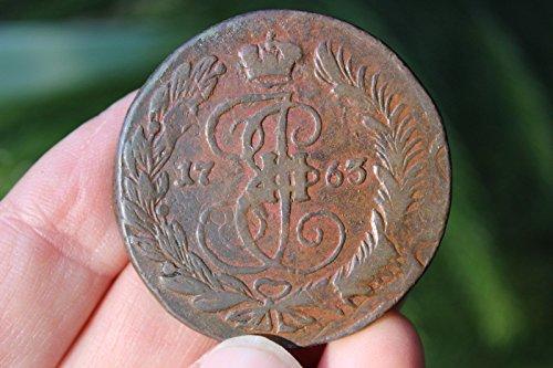 Russian copper 5 kopeks, 1763, overstruck on 1762 10 kopeks