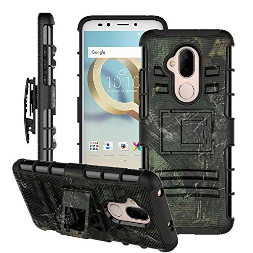 Alcatel 7 Case,Revvl 2 Plus/Alcatel 7 Folio Case w/Tempered Glass Screen Protector [Kickstand+Belt Clip Holster],Heavy Duty Shockproof Dual Layer Full-Body Protective Phone Cover for Men/Women (Camo)