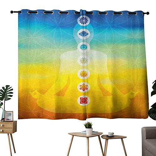 Windshield Curtain Chakra Gradient Colored Digital Female Human Body with Central Sacred Chakra Points Design Multicolor Noise Reducing Curtain W55 xL39 (Chakras In Human Body And Their Functions)