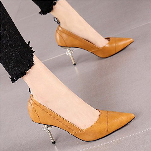 Rhinestones Shoes Work Shallow Lady Spring Heels With 8 5 Commuter MDRW Stitching Shoes Commute Mouth Cm Single Elegant Wild Brown Banquet Pointed Leisure Fine High 37 EPAwnqnS