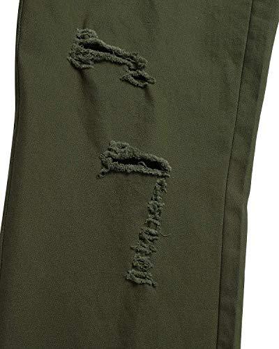 Bassa Mode Con Marca Slim Distrutti Pantaloni Jeans Moda Di Buco Ginocchio Uomo Fori Da Fit Casual Vita Strappato Armeegrün A Chino CCqzwt