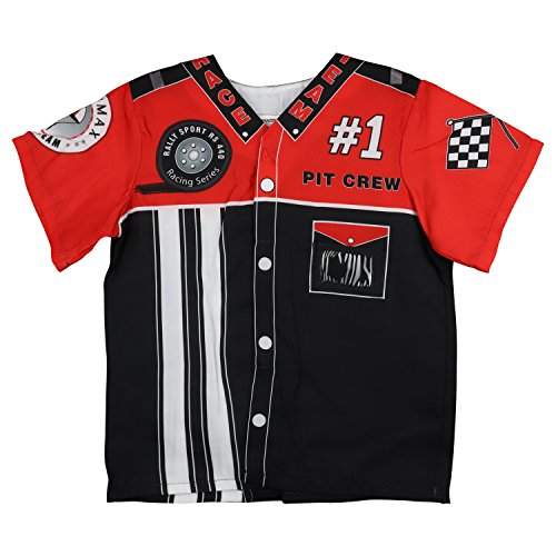 Trendy Apparel Shop Kid's Junior Costume Pit Crew Racing Team Shirt - BLACK