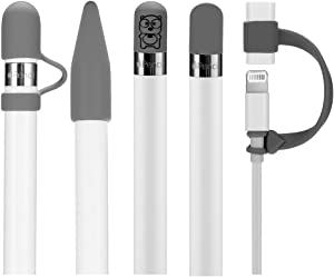 Teyomi 5-Pack Silicone Protective Accessories for Apple Pencil 1st Generation, Includes 2 Apple Pencil Cap Replacements, Apple Pencil Cap Holder, Apple Pencil Tip Cover, Cable Adapter Tether(Gray)