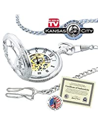 As Seen on TV Collectible Silver Kansas City Railroad Pocket Watch