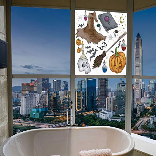 YOLIYANA Frosted Window Film Stained Glass Window Film,Halloween Decorations,Work Well in The Bathroom,Magic Spells Witch Craft Objects Doodle Style Grunge,17''x24'']()