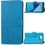 Galaxy S8 Plus Case,HAOTP(TM) Beauty Luxury Lucky Flowers Fashion Floral PU Flip Stand Credit Card ID Holders Wallet Leather Case Cover for Samsung Galaxy S8 Plus 2017 (Blue)