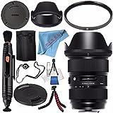Sigma 24-35mm f/2 DG HSM Art Lens for Canon EF #588954 + 82mm UV Filter + Lens Pen Cleaner + Fibercloth + Lens Capkeeper + Deluxe Cleaning Kit + Flexible Tripod Bundle