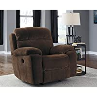 Ashley Furniture Signature Design - Uhland Upholstered Power Recliner w/ Adjustable Headrest - Contemporary - Chocolate