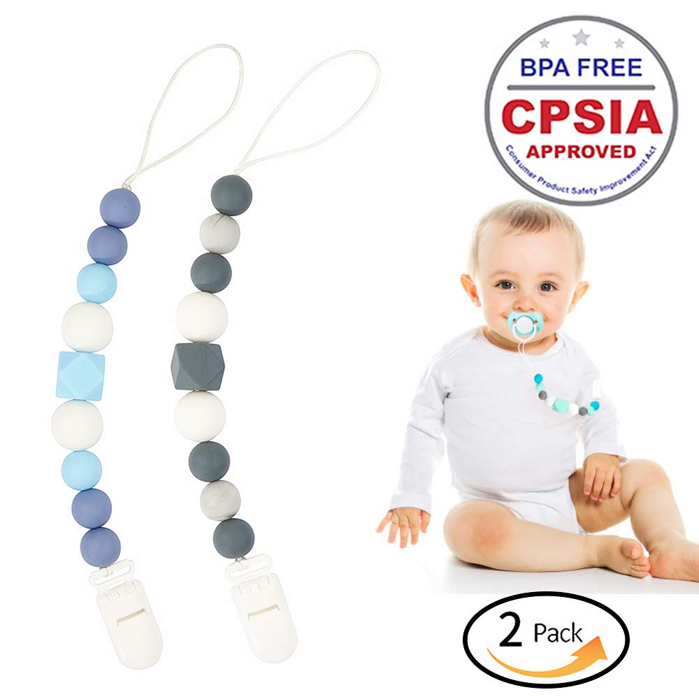 Pacifier Clips Silicone Teething Beads BPA Free Binky Holder for Girls, Boys, Baby Shower Gift, Teether Toys, Soothie, Mam, Drool Bibs, Set of 2 (Green, Gray) (Green, Gray)