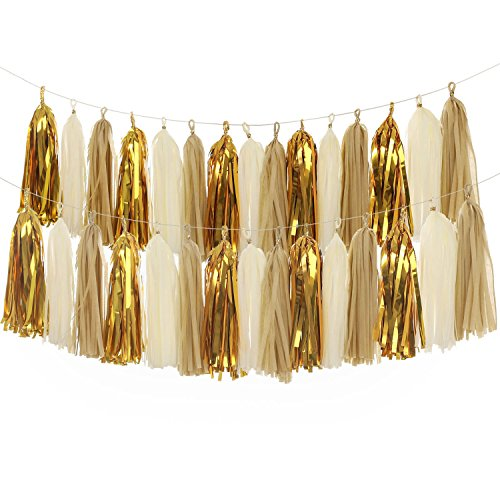 Ling's moment 2 X 18pcs Tissue Paper Tassels, Tassel Garland Banner for Wedding, Baby Shower, Event & Party Supplies, DIY Kits - (Tan+Ivory+Metallic (Sweet 15 Decorations Stores)
