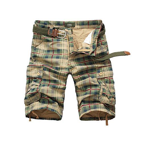 (EVERDESIGN Mens Casual Plaid Cotton Cargo Shorts Patchwork Shorts with Pockets Zipper Shorts for Daily Wear)