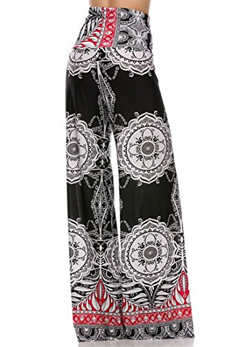 Plus Size High Waist Foldover Boho Palazzo Pants (2XL, Black Red) [Apparel]