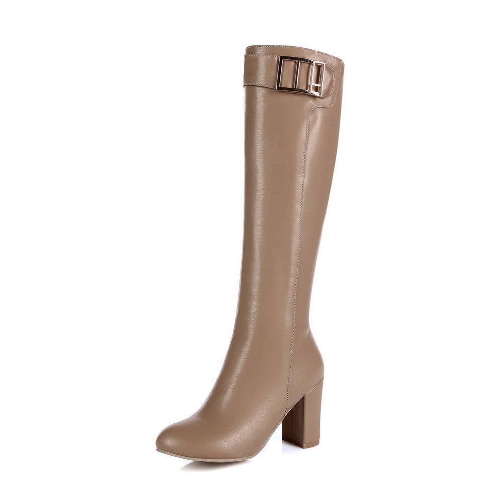 AllhqFashion Women's High-Heels Round Closed Toe Pu High-Top Solid Zipper Boots, Apricot-Zippers, 37 by AllhqFashion