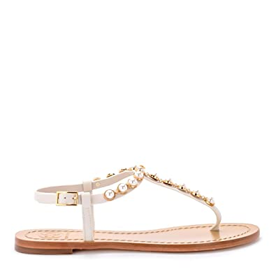 7ee19c2481a6 Tory Burch Emmy Pearl Thong Linen White Leather Sandals (6.5 M US)