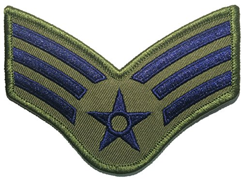 Senior Airman Olive Drab and Blue Large US Air Force USAF CHEVRONS Rank Military U.S. Army Morale Applique Embroidered Sew Iron on Emblem Badge Patch By Ranger Return (RR-USAF-CHEV-SENR-ODBL) (Airmans Girl)