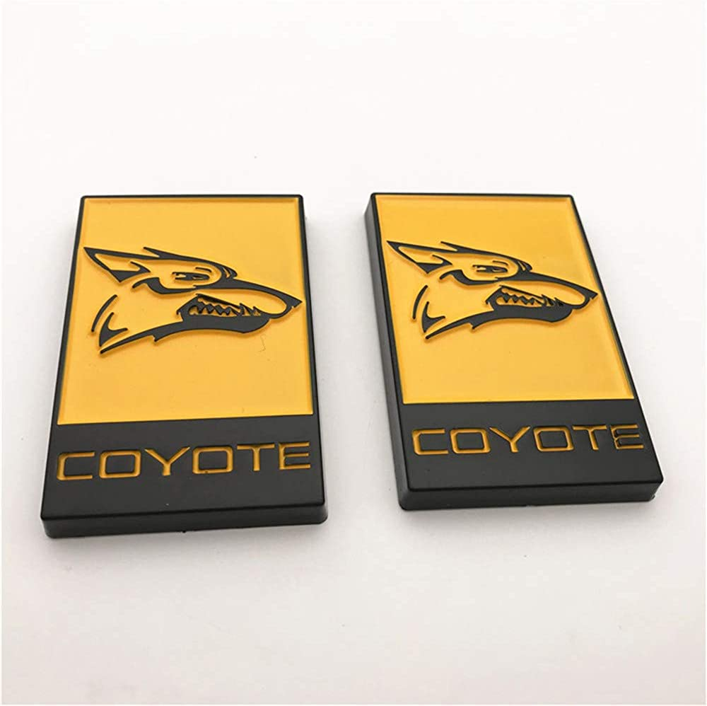 2pcs Word Coyote Wolf Head New Custom Yellow Painted Color 3D Badge Emblem Fender Side Or Rear Trunk Decal Sticker