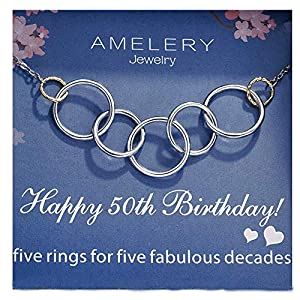 Amelery Happy 50th Birthday Gifts Women Necklace 5 Rings Five Decades Necklaces Ciecle Pendants Gift Ideas Jewelry for Women