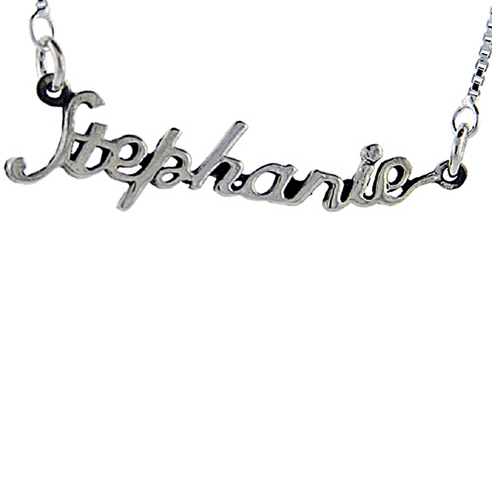 17 Inches Long Sterling Silver Name Necklace Stephanie 3//8 Inch