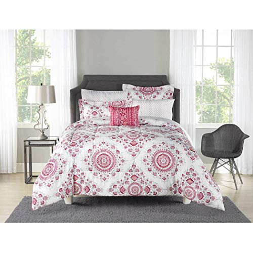 6 Piece Off White Light Pink Medallion Geometric Floral Comforter Set Twin Twin XL with Sheets, Pink White Color Palette Bohemian Chic Mandala Motif Design Kids Bedding Teen Bedroom, Microfibre